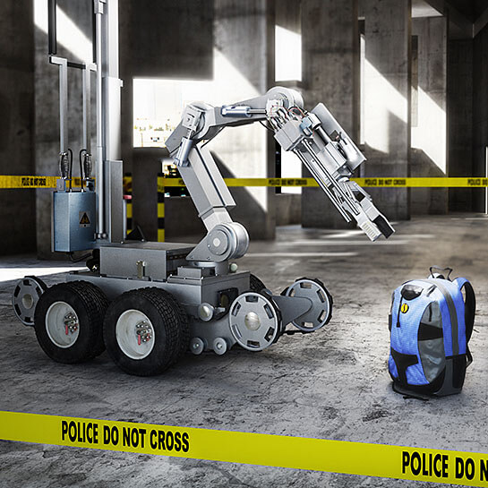 Image of robot approaching a suspicious package.